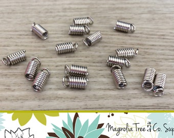 Silver Tone Coil End Crimp, Necklace Fastener, Crimp Beads, Crimp Barrel Beads, Connector, Spring, Nickel FREE 98pcs, FEC22
