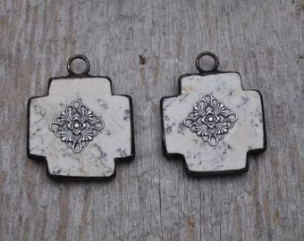Large White Turquoise Soldered Cross with Filagre