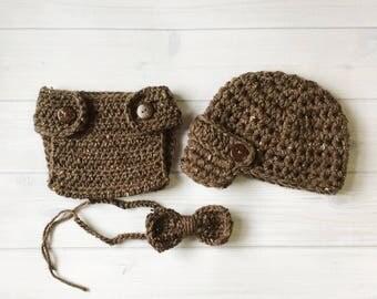 Newborn Baby Boy Photo Prop Handmade Crochet Diaper Cover, Crochet Diaper Cover Hat and Bow Tie Set * Barley *