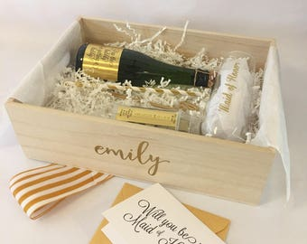 Bridesmaid Proposal Gift Box Sets - Will You Be My Maid of Honor, Bridesmaid etc Champagne label, stemless glass, personalize wooden box set