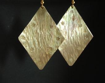 Geometrical Hammered Bronze Unique Earrings Contemporary Statement Rhombus Earrings Modern Big Gold Opalescent Earrings