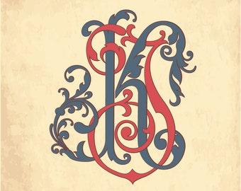 Vintage Monogram KJ | Wedding logo | Wedding Clip Art