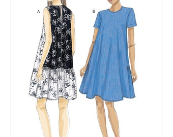 Vogue Pattern V9237 Misses' A-Line, Back-Ruffle Dresses