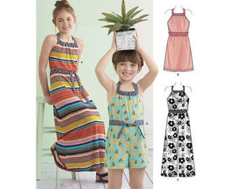 Simplicity Pattern 8395 Child's and Girls' Halter Dress or Romper in Two Lengths