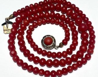 OX Blood RED Coral necklace no dye natural coral beads Art Nouveau Antique or Vintage Necklace