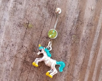 Unicorm Belly Button Ring, Belly Button Jewelry, Body Jewelry, Navel Rings, Unicorn Charm.