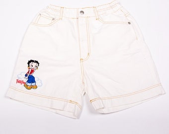 Vintage Betty Boop Embroidered High Waisted White Denim 90s Shorts