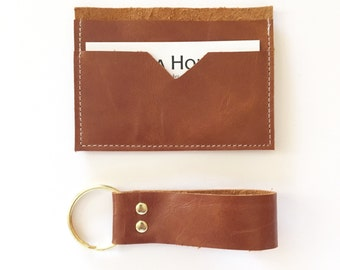 GIFT SET - Wallet and keychain - leather wallet Mens wallet womens  wallet purse groomsmen gift for him slim wallet for men card wallet