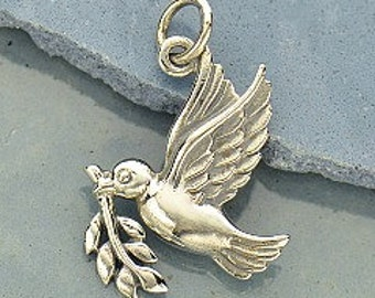 Sterling Silver Peace Dove Charm, 21x14mm