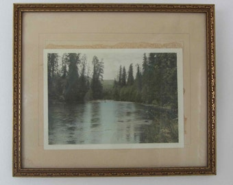 Antique Wooden frame with a river and lanscape picture print, Wood and Gesso frame, Vintage wooden picture frame