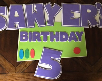 buzz lightyear party sign, toy story woody party sign
