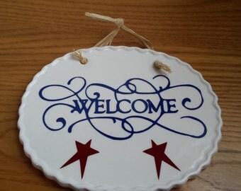 Prim Ceramic Welcome Plaque