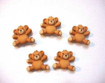 Bear Buttons Jesse James Buttons Stuffed With Love Dress It Up Buttons Set of 5 Shank Back - 101 E