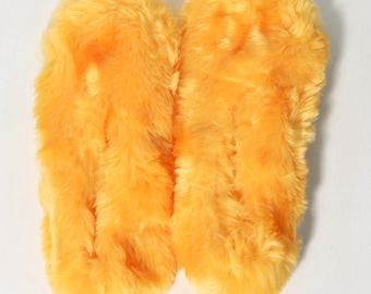 Vintage 70's Ugly Orange/Peach Fuzzy Carpet Slippers Size 7 - New, NOS