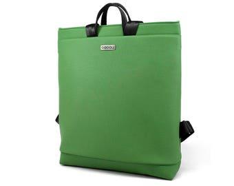 Green laptop bag. With LED light system inside. Straps made of seatbelt. Boogie L