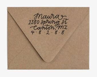 Lovely - Custom Hand Lettered Return Address Stamp