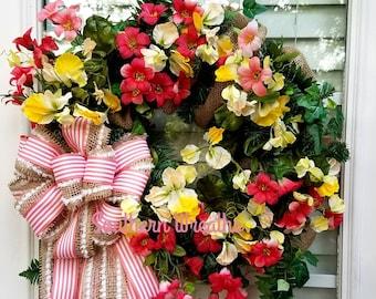 Peach floral Wreath, Spring Floral Wreath, Burlap Wreath,  Wreath for Front Door, Everyday Door Wreath, Summer Door Wreath