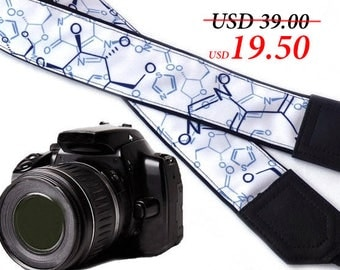 InTePro Chemistry  camera strap. Black blue and white Camera strap. DSLR / SLR Camera Strap. Camera accessories. Photo accessories.