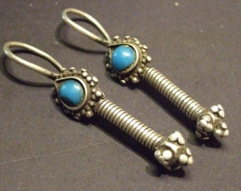 Very Old Sterling Afghani earrings with turquoise.. 58 mm with hoop 12 mm wide.  (EthEar 32)