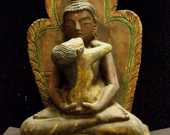 "Old Samaatithabadhra carved wood sculpture, 12"" tall, 7.5"" eide, 4"" thick."