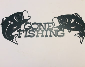 Plasma Cut Gone Fishing Metal Wall Art - bass, fish, office art, garage art, man cave, wall decor, door sign,camping, outdoors, boat