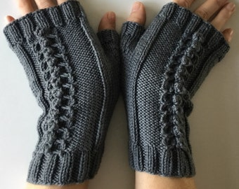 Hand knit wool fingerless gloves, grey wool texting mitts, fingerless hand warmers, hand knit gift.