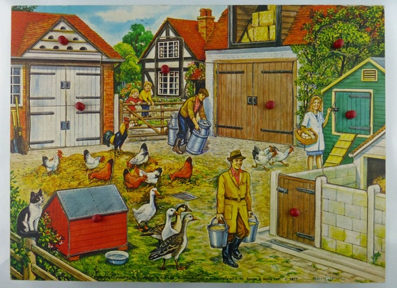 "Vintage 1970s ""Peek-A-Boo"" Farmyard Wooden Jigsaw Puzzle by G.J. Hayter and J.W. Spear & Sons"