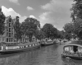 Tranquil Amsterdam, Cityscape Of The Amsterdam Canals Holland. Black & White Photography Picture, B And W Art Prints Framed / Unframed