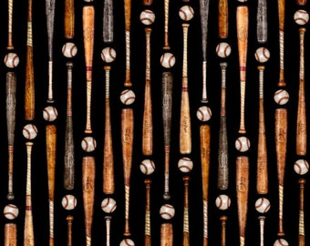 Grand Slam, Wooden Baseball Bats on black cotton fabric by Quilting Treasures
