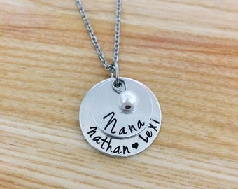 Mothers day gifts for grandma, grandma to be, new grandma, hand stamped necklace, personalized necklace, new grandma gift, stacked necklace