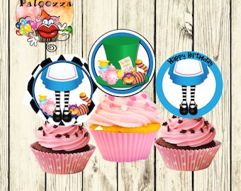 Printable Birthday Alice in Wonderland Cupcake topper/tag
