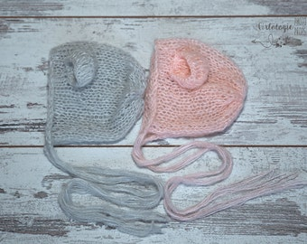 Newborn Mohair Bear Bonnet * Photo Prop * Baby Bear Hat *Light Gray * Pale Pink *