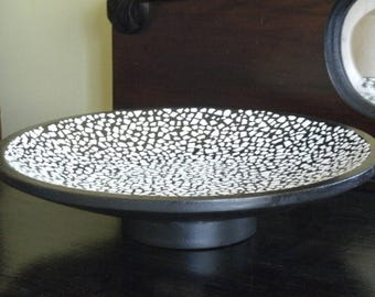 Black Wooden SHELL MOSAIC  Bowl