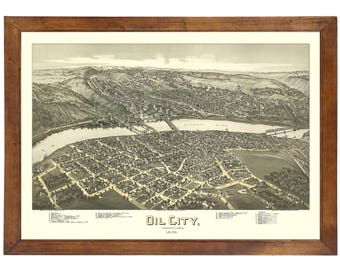 Oil City, PA 1896 Bird's Eye View; 24x36 Print from a Vintage Lithograph