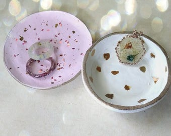 Jewelry Dishes handmade polymer clay gold