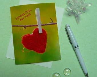 Red Heart note card, blank inside, hand made, fine art, all-occasion, Valentine, Love, Hugs, A2 size