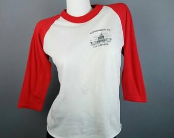 70s Vintage Red White Raglan T Shirt, Soft Thin 3/4 Sleeve Baseball Tee, Washington DC US Capitol, Small Medium