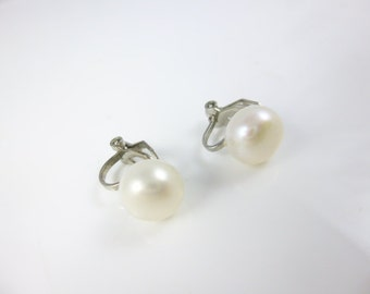 Clip on Pearl Earrings, Freshwater Pearl Earrings, Button Pearl Earrings, Clip on Earrings