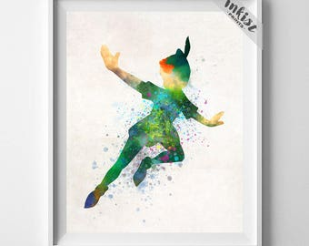 Peter Pan Poster, Peter Pan Watercolor, Gift For Her, Disney Art, Disney Nursery, Baby Gift, Neverland Art, Peter Pan Decor, Gift For Him