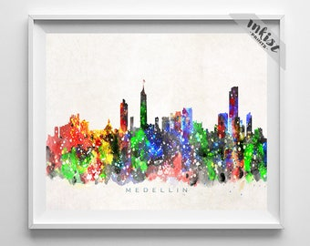 Medellin Skyline Print, Colombia Art, Cityscape, Watercolor Painting, Wall Art, City Skyline, Wall Decor, City Poster, Dorm Decor