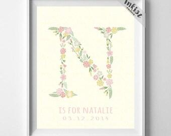 Floral Monogram, Flower Art Print, Floral Name Initial, Nichole, Nikki, Norma, Nola, Noem, Nicolette, Flower Monogram, Dorm Decor