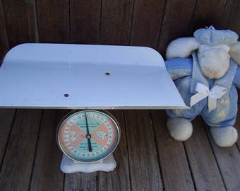 American Family Baby Scale, Metal Top, Elephant and Teddy Bear Dial, Blue and Pink Face,Baby Room Decor,Photography Prop