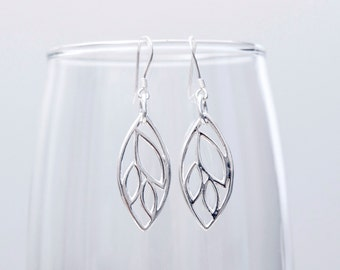 Leaf Earrings ~ Sterling Silver Leaf Earrings ~ Leaf Jewelry ~ Handmade Sterling Silver Dangle Earrings ~ Sterling Silver Leaf Jewelry ~