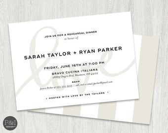 Love Rehearsal Dinner Invitation   Elegant and Modern   5x7   Blush Pink and Taupe