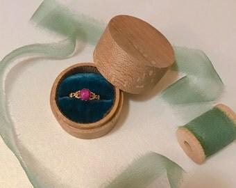 Small Round Wood and Velvet Ring Box