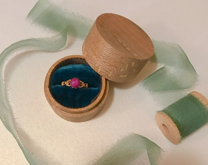 Featured listing image: Small Round Wood and Velvet Ring Box
