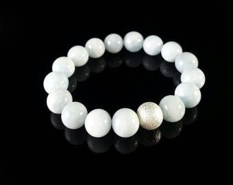 Grade AA Aquamarine Bracelet -Sterling Silver,10mm,Women's Bracelet, Gift for Her,Gift for Wife,Gift for Sister, Mother's Day Gift