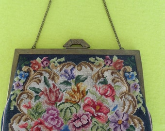 Vintage Micro Needlepoint Embroidered Floral Small Purse Made in Hungary