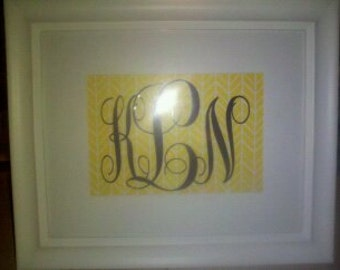 White 8X 10 frame with monogram