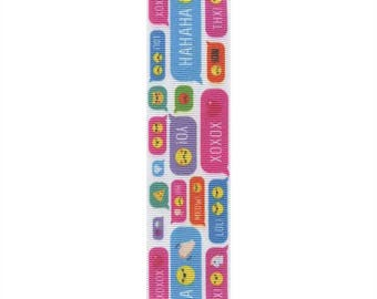 "1-1/2"" White Grosgrain Ribbon - Emojis, & Fun Sayings!"